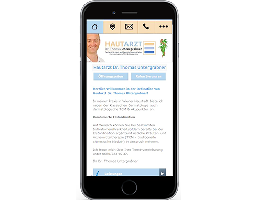 Smartphone Version Homepage Internet Ordination Arzt Praxis Medmentor
